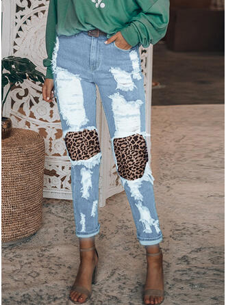 Patchwork Plus Size Ripped Leopard Casual Vintage Denim & Jeans