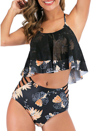 Floral Hollow Out Halter Plus Size Eye-catching Bikinis Swimsuits