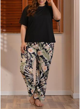 Poliéster Floral Patchwork Talla extra Cuello Redondo Manga Corta Conjunto de pijama