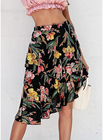 Polyester Print Floral Knee Length A-Line Skirts
