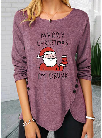 Print Figure Round Neck Long Sleeves Button Up Casual Christmas Blouses
