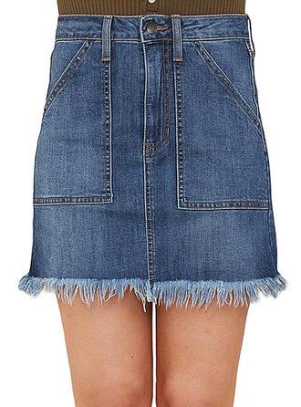 Juan Color sólido Sobre la rodilla Faldas Demin