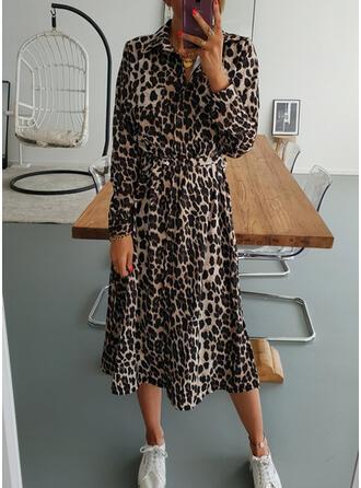 Leopardo Manga Larga Acampanado Casual Midi Vestidos