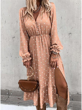 PolkaDot Long Sleeves A-line Skater Casual/Elegant Midi Dresses
