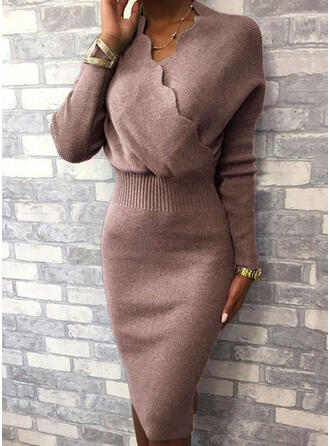 Sólido Cuello en V Casuales Largo Ajustado Vestido de Suéter