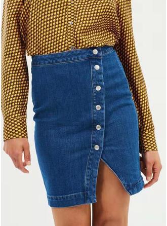 Denim Plain Above Knee Pencil Skirts