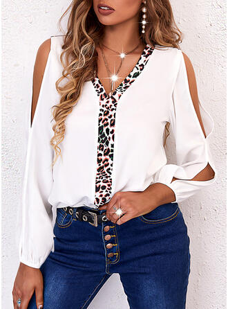Color Block Leopard V-Neck Long Sleeves Slit Sleeve Casual Blouses
