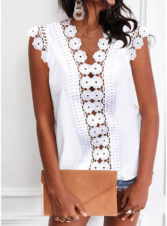 Solid Lace V-Neck Short Sleeves Tank Tops