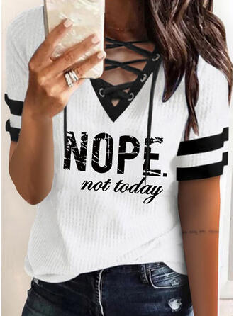 Print Lace-up Letter V-Neck Short Sleeves Casual Blouses