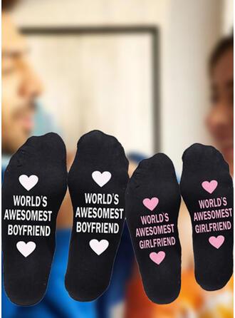 Floral/Letter Comfortable/Crew Socks/Non Slip/Unisex Socks (Set of 2 pairs)