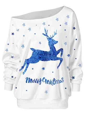 Animal Print Figure One Shoulder Long Sleeves Christmas Sweatshirt