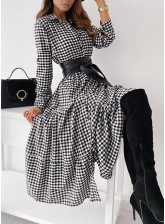 Plaid Long Sleeves A-line Shirt/Skater Casual Midi Dresses