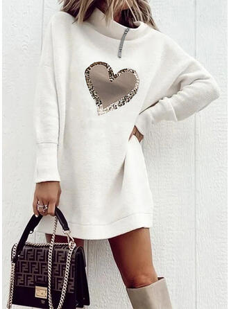 Print/Heart Long Sleeves Dropped Shoulder Shift Above Knee Casual Dresses