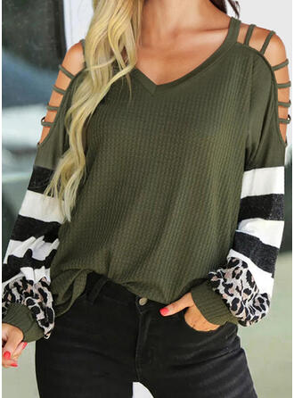 Striped Leopard Cold Shoulder Long Sleeves Casual Blouses