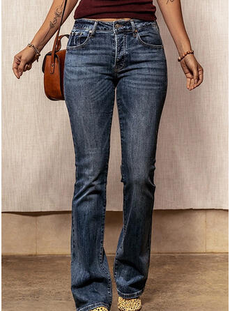 Solid Shirred Casual Elegant Denim & Jeans