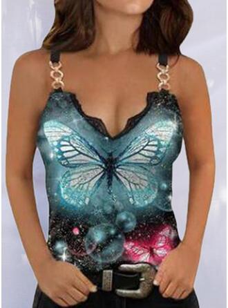 Print Animal Lace Strap Sleeveless Tank Tops