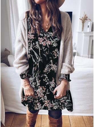 Lace/Print/Floral Long Sleeves Shift Knee Length Casual/Elegant Tunic Dresses