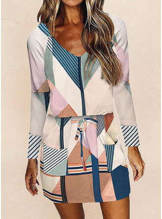 Print/Color Block/Striped Long Sleeves Sheath Above Knee Casual Dresses