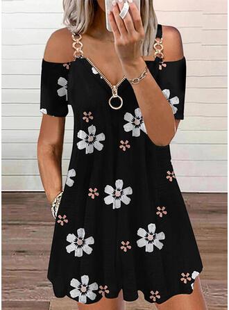 Print/Floral Short Sleeves Cold Shoulder Sleeve A-line Above Knee Casual Dresses