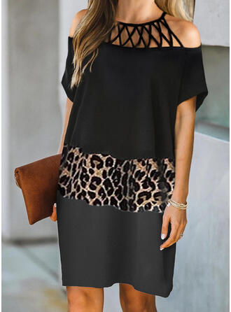 Color Block/Leopard/Hollow-out Short Sleeves Shift Above Knee Elegant Dresses