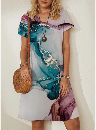 Print Sleeveless/Short Sleeves Shift Knee Length Casual Dresses