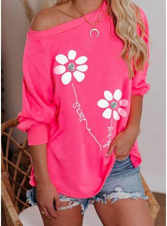 Print Floral Letter One Shoulder Long Sleeves Sweatshirt