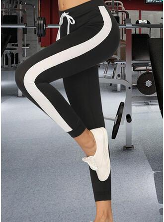 Patchwork Fruncido Cordón Recortada Casual Deportivo Yoga Pantalones