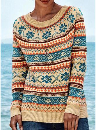 Impresión Bloque de Color Cuello Redondo Casuales Suéteres