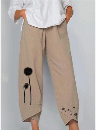 Impresión Fruncido Talla extra midi Casual Llanura Pantalones