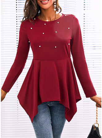 PolkaDot Round Neck Long Sleeves Casual Blouses