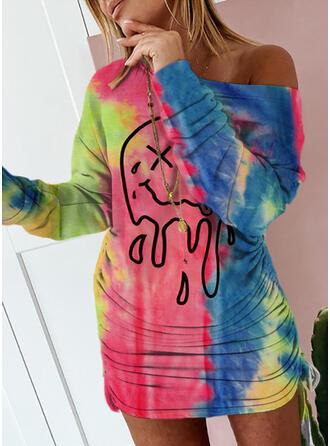 Print/Tie Dye Long Sleeves Sheath Above Knee Casual Dresses