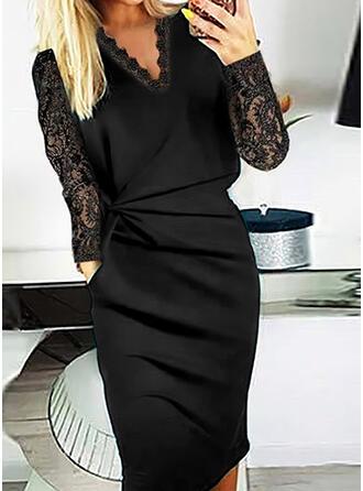Solid Lace Long Sleeves Bodycon Little Black/Elegant Midi Dresses