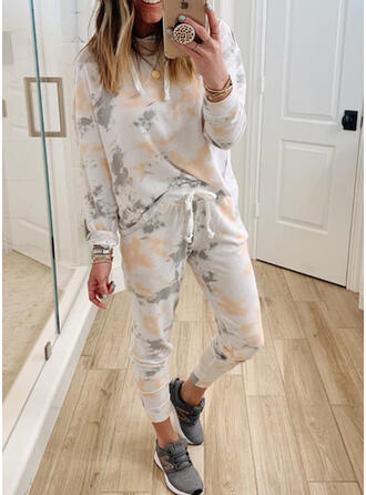 Tie Dye Drawstring Casual Sporty Stretchy Suits