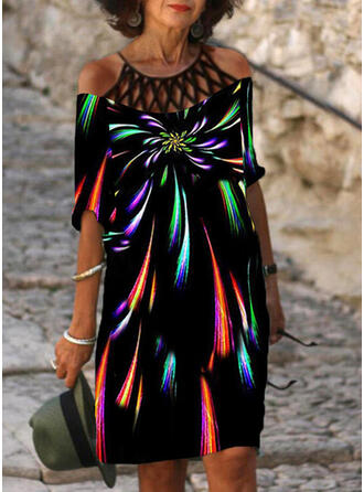 Print/Hollow-out 1/2 Sleeves Shift Knee Length Casual Tunic Dresses