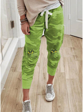 Print Drawstring Christmas Casual Sporty Pants