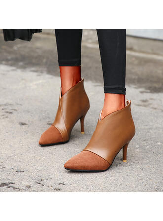 Women's PU Stiletto Heel Ankle Boots Pointed Toe With Zipper Splice Color shoes