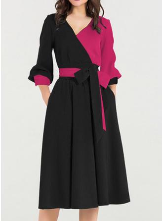 Bloque de color Manga Larga Acampanado Hasta la Rodilla Vintage/Elegante Vestidos