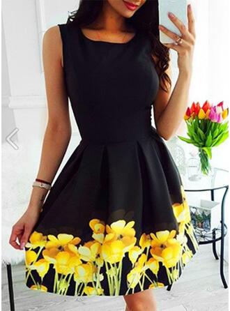 Print/Floral Sleeveless A-line Above Knee Vintage/Casual/Elegant Skater Dresses