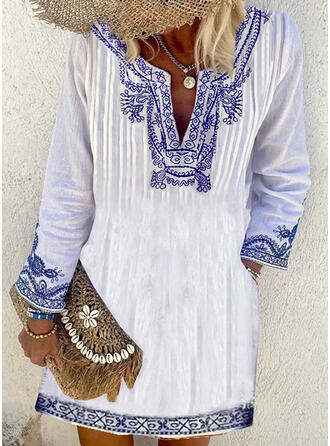 Print Long Sleeves Shift Above Knee Boho Tunic Dresses