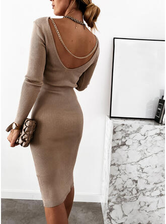 Solid Long Sleeves Bodycon Knee Length Little Black/Sexy Sweater Dresses