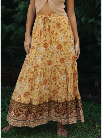 Chiffon Print Floor Length A-Line Skirts