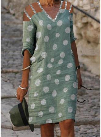 Sequins/PolkaDot 1/2 Sleeves Shift Knee Length Casual Tunic Dresses