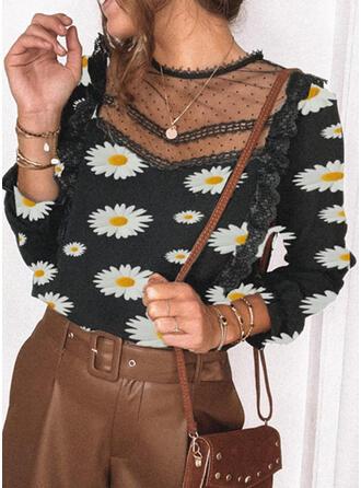 Impresión Floral Cuello redondo Manga Larga Casual Elegante Blusas