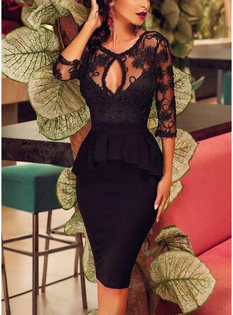 Lace/Solid 3/4 Sleeves Bodycon Knee Length Little Black/Elegant Pencil Dresses