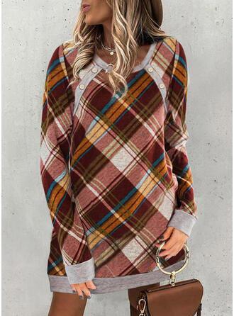 Plaid Long Sleeves Shift Above Knee Casual Sweatshirt Dresses