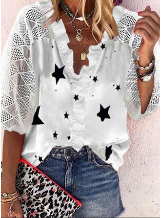 Print Lace V-Neck 3/4 Sleeves Button Up Casual Blouses