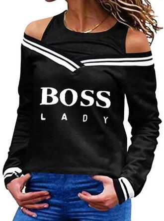 Print Striped Figure Cold Shoulder Long Sleeves Sweatshirt
