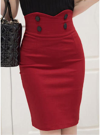 Cotton Plain Knee Length Pencil Skirts