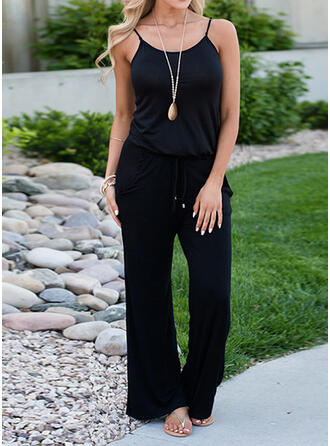 Solid Spaghetti Strap Sleeveless Casual Jumpsuit