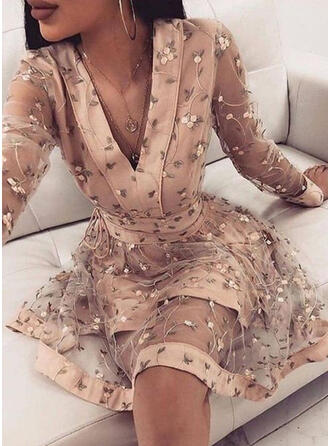 Floral/Solid Long Sleeves A-line Above Knee Elegant Skater Dresses